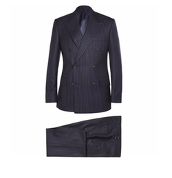 Navy Double-Breasted Pinstripe Suit by Kingsman for Mr. Porter in Kingsman: The Golden Circle
