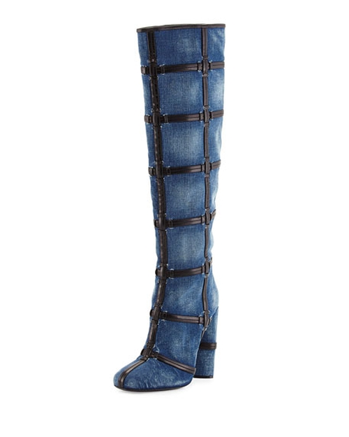 Woven Leather Trimmed Denim Knee Boots by Tom Ford in Keeping Up With The Kardashians - Season 11 Episode 11