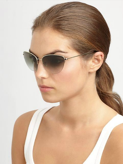 Kiley 61mm Cat's-Eye Sunglasses / Olive by Oliver Peoples in The Other Woman