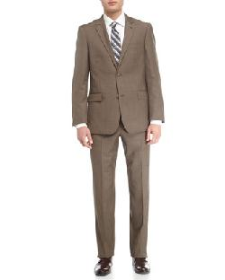 Wool Twill Modern-Fit Suit, Taupe by Neiman Marcus in The Wolf of Wall Street
