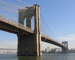 New York City, New York by Brooklyn Bridge in New Year's Eve