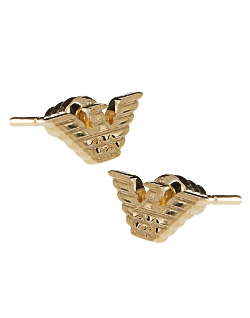 Gold Plated Eagle Stud Earrings by Emporio Armani in Dope