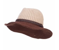 Knit Wide Brim Fedora Hat by Jeanne Simmons in Billions