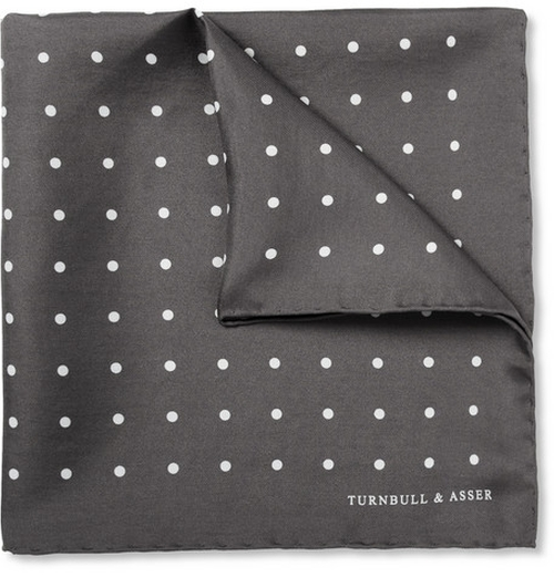 Polka-Dot Silk Pocket Square by Turnbull & Asser in Ballers