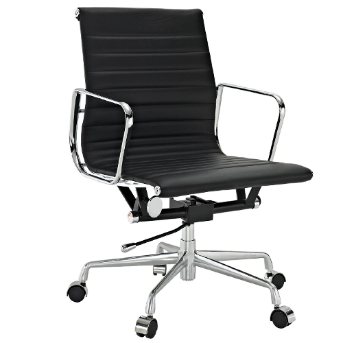 Ribbed Mid Back Office Chair by Lexmod in Barely Lethal