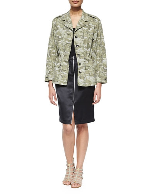 Camo Field Drawstring-Waist Jacket by ATM	 in Keeping Up With The Kardashians - Season 11 Episode 3