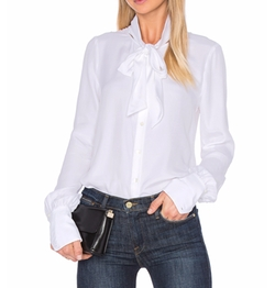 Tie Neck Blouse by Frame Denim in House of Cards
