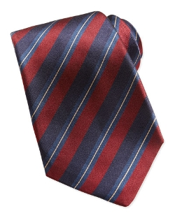 Woven Dark-Stripe Tie by Kiton in Self/Less