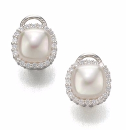Mabe Pearl Halo Stud Earrings by Majorica in Scream Queens