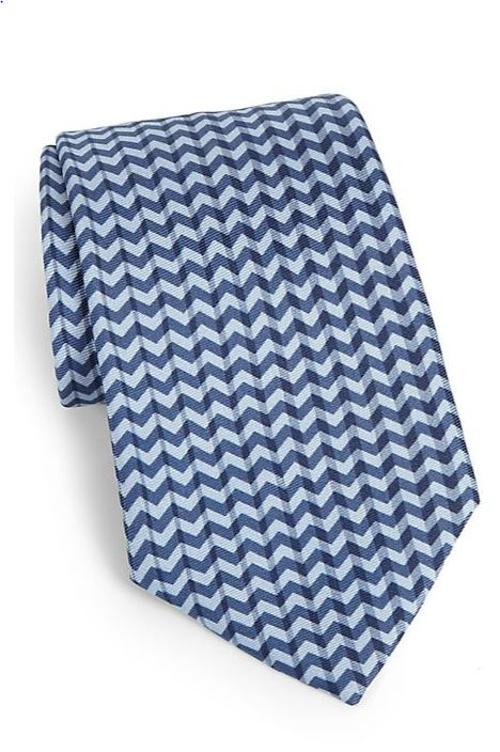 Zig Zag Printed Silk Tie by Armani Collezioni in Self/Less