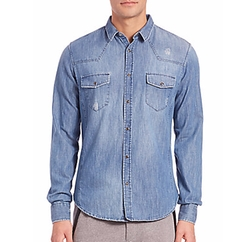 Fleece Denim Sportshirt by The Kooples in The Walking Dead