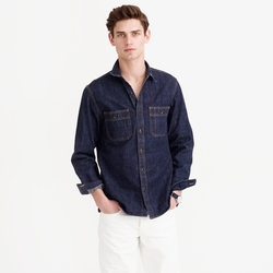 Selvedge Denim Shirt by J.Crew in New Girl