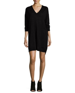 Long-Sleeve V-Neck Jersey Dress by Eileen Fisher in Jessica Jones