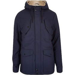 Navy Fleece Lined Winter Coat by River Island in On Her Majesty's Secret Service