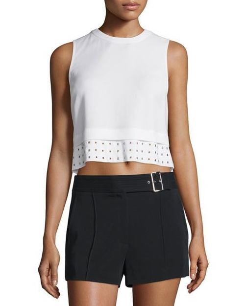 Henson Crepe Eyelet Crop Top by A.L.C. in Pretty Little Liars