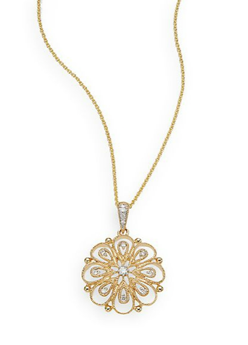 Diamond & 14K Yellow Gold Flower Pendant Necklace by Saks Fifth Avenue in Scandal - Season 5 Episode 12