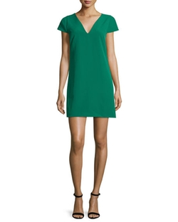 Eva Cap-Sleeve Stretch Cady Dress by Milly in La La Land