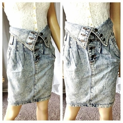 High Waisted Acid Wash Foldover Denim Skirt by Vintage Forenza in Scream Queens