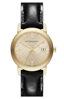 Check Stamped Round Leather Strap Watch by Burberry in Yves Saint Laurent