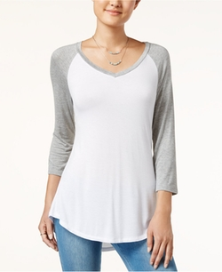 V-Neck Raglan T-Shirt by Ultra Flirt in Supergirl