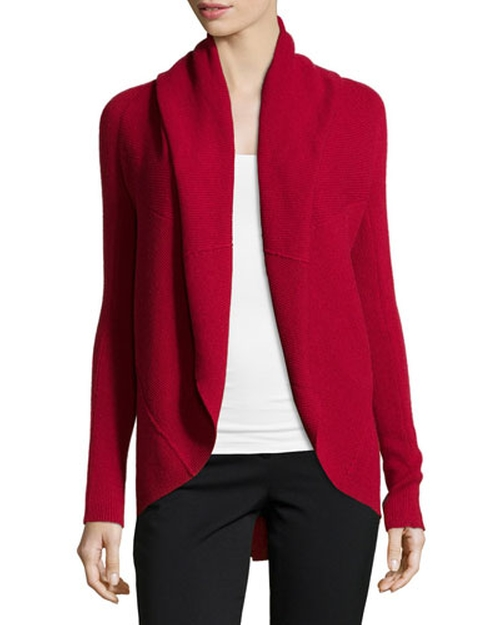 Cashmere Ribbed Circle Cardigan by Neiman Marcus in Elementary - Season 4 Episode 3