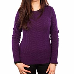 Cashmere Cable Knit Crew Neck Cosy Sweater by Dunedin in Power