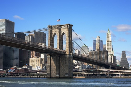 Brooklyn Bridge New York CIty, New York in Hands of Stone