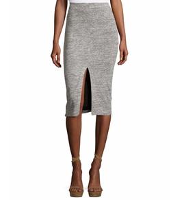 Spiga Slit-Front Knit Midi Pencil Skirt by Alice + Olivia in Quantico