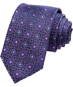 Modern Width Purple Vine Medallion Silk Tie by Alara in Our Brand Is Crisis