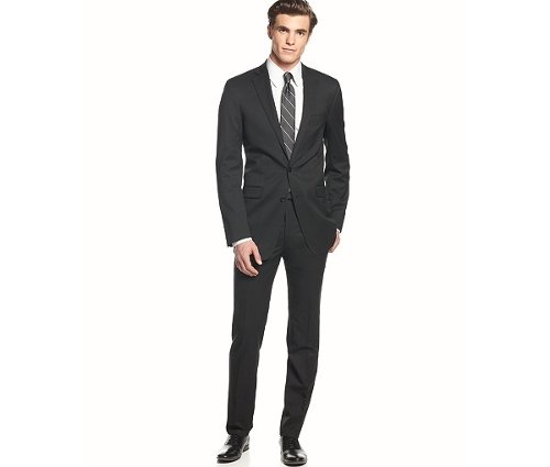 Solid Wool Black Slim Fit Suit by Calvin Klein in The Gift