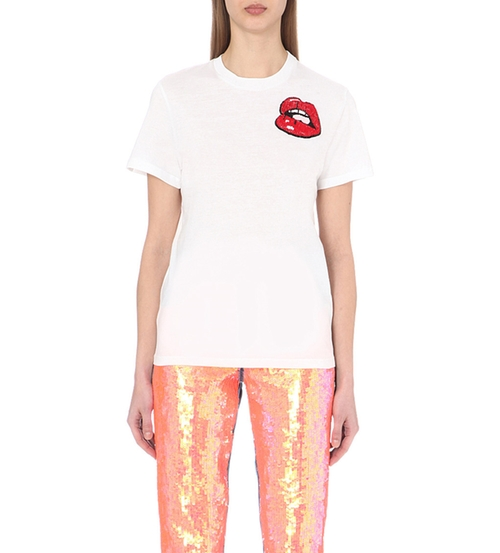 Lip Sequin-Embellished T-Shirt by Au Jour Le Jour in Keeping Up With The Kardashians - Season 11 Episode 13