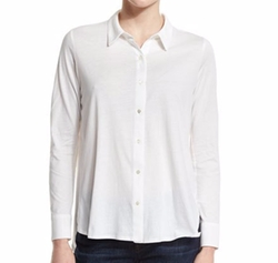 High-Low Button-Front Shirt by Eileen Fisher in The Circle