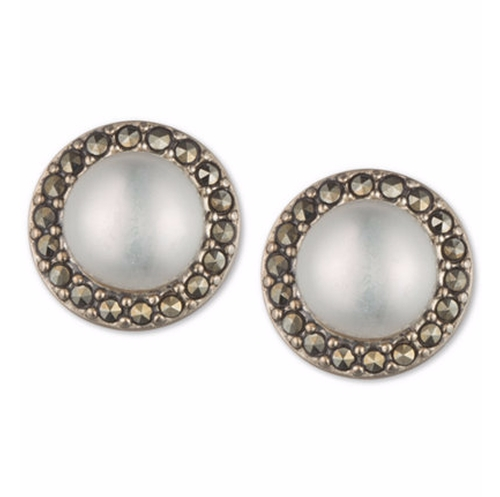 Pearl and Marcasite Stud Earrings by Judith Jack in The Boss