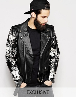 Leather Biker Jacket With Printed Sleeves by Reclaimed Vintage in Popstar: Never Stop Never Stopping