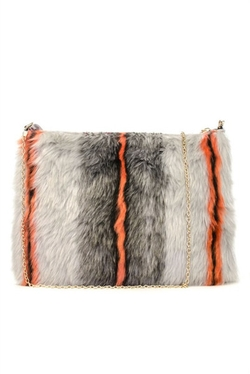 Neon Stripe Faux Fur Clutch Bag by Very Honey in Scream Queens
