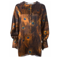Peacock Feather Print Blouse by Givenchy in Empire