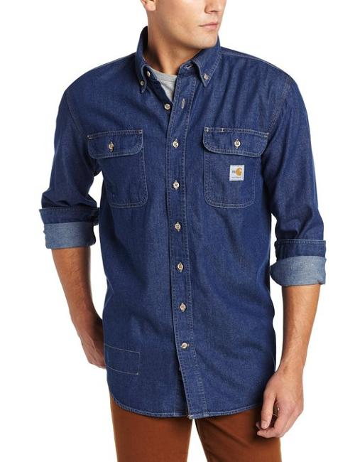 Men's Flame-Resistant Washed Denim Shirt by Carhartt in Contraband