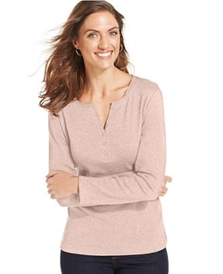 Long-Sleeve Henley Cotton Top by Karen Scott in Master of None