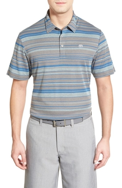 'Keiko' Stripe Pima Cotton Jersey Polo by Travis Mathew in Blow