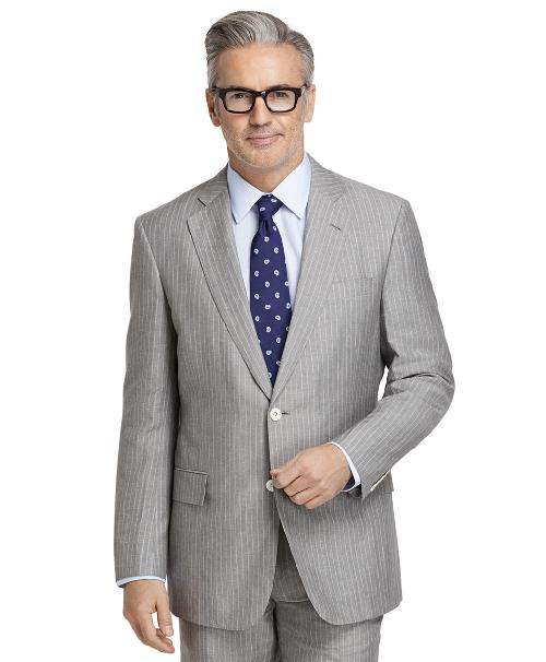 Regent Fit Wool and Linen Striped Suit by brooksbrothers in X-Men: Days of Future Past