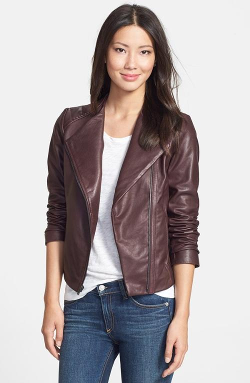 Collarless Leather Moto Jacket by 7 For All Mankind in Little Fockers
