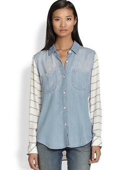 Harper Contrast-Paneled Denim Shirt by Rails in The Big Bang Theory