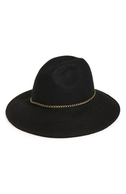 Chain Trim Panama Hat by Nordstrom in Rosewood
