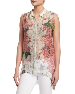 Sleeveless Silk Butterfly-Print Tunic by Johnny Was in Empire