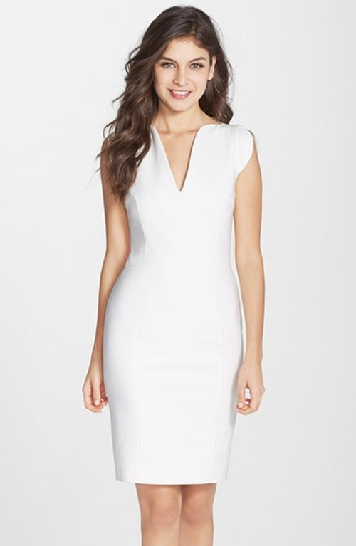 'Lolo' Split Neck Sheath Dress by French Connection in Suits - Season 5 Episode 2