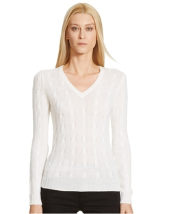 Cabled Cashmere V-Neck Sweater by Ralph Lauren in How To Get Away With Murder