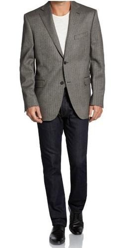 Wool Classic-Fit Herringbone Sportcoat by Saks Fifth Avenue BLACK in Gone Girl