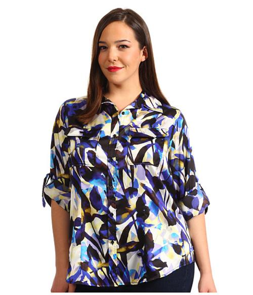Plus Size Printed Roll Sleeve Blouse by Calvin Klein in Let's Be Cops