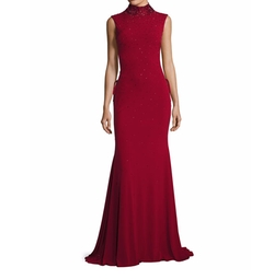 Beaded Laced Stretch Jersey Gown by Jovani in Quantico