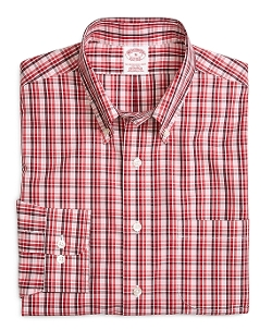 Supima Cotton Regular Fit Check Sport Shirt by Brooks Brothers in Adult Beginners